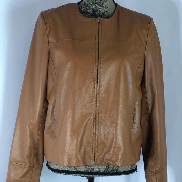 Apostrophe Jackets & Blazers - Apostrophe Camel Brown Leather Jacket Size 12